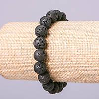 Браслет из натурального камня Лава шарик d-8мм обхват 18см на резинке