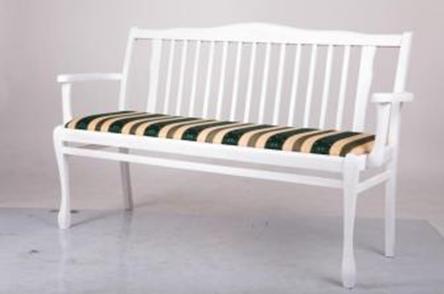 Лавка деревянная  со спинкой в прихожую Версаль Микс мебель, цвет белый