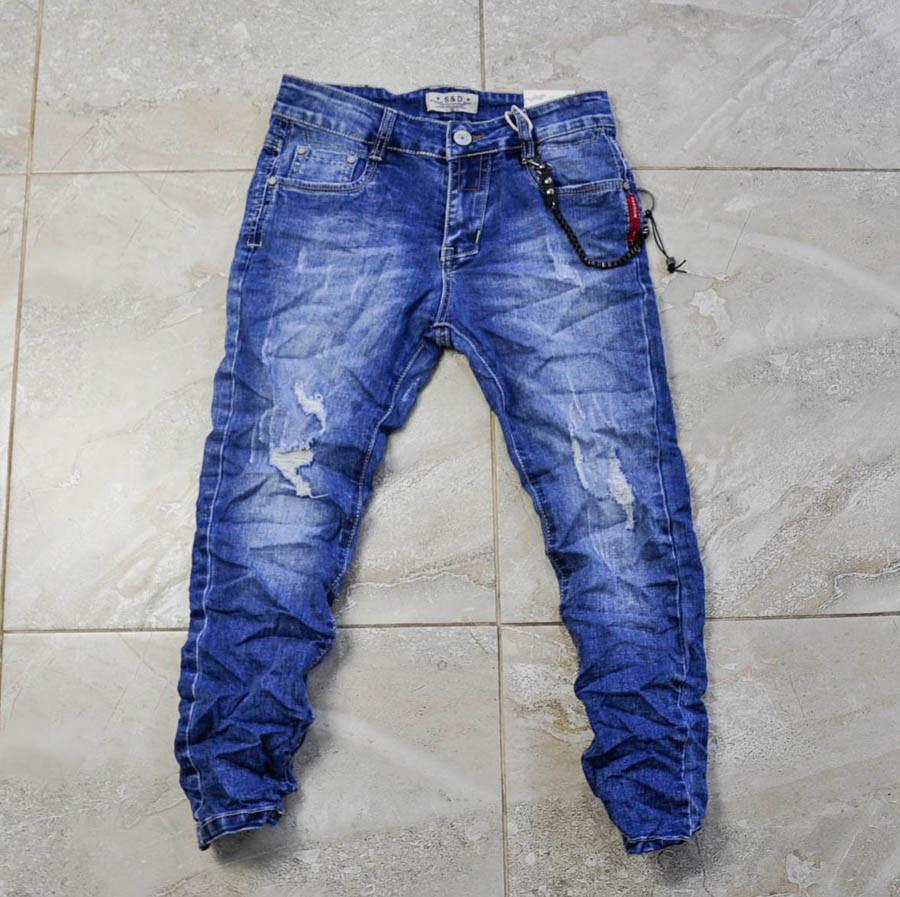 Джинсы-жмаканки голубого цвета с цепочкой для мальчика, S and D