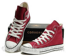 Кеды в стиле  Converse ALL STAR (конверсы) Бордовые высокие в коробке
