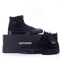 Кеды в стиле  Converse ALL STAR (конверсы) Черные высокие в коробке, фото 1