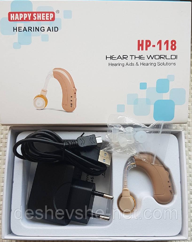Слуховой аппарат Happy sheep HP-118 со встроенным аккумулятором и зарядным устройством