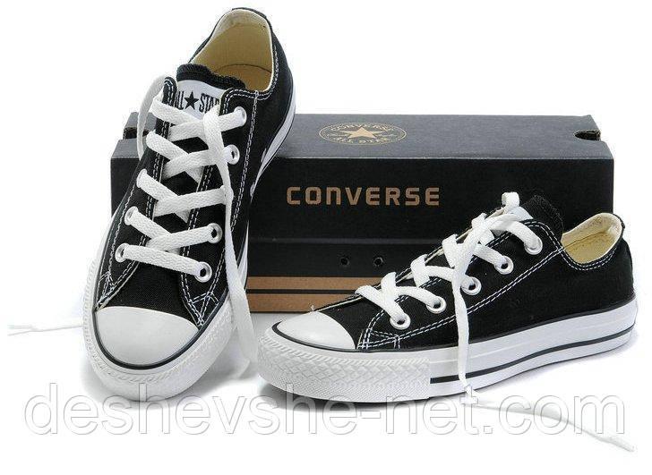 Кеды в стиле  Converse ALL STAR (конверсы) Черные низкие (белая подошва) в коробке