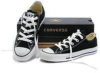 Кеды в стиле  Converse ALL STAR (конверсы) Черные низкие (белая подошва) в коробке, фото 1