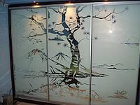 """Шкаф-купе """"Восход"""" прямой, длиной 3 метра, с пескоструйным рисунком"""