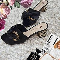 Сабо женские Glossi черные натуральная кожа на каблуке