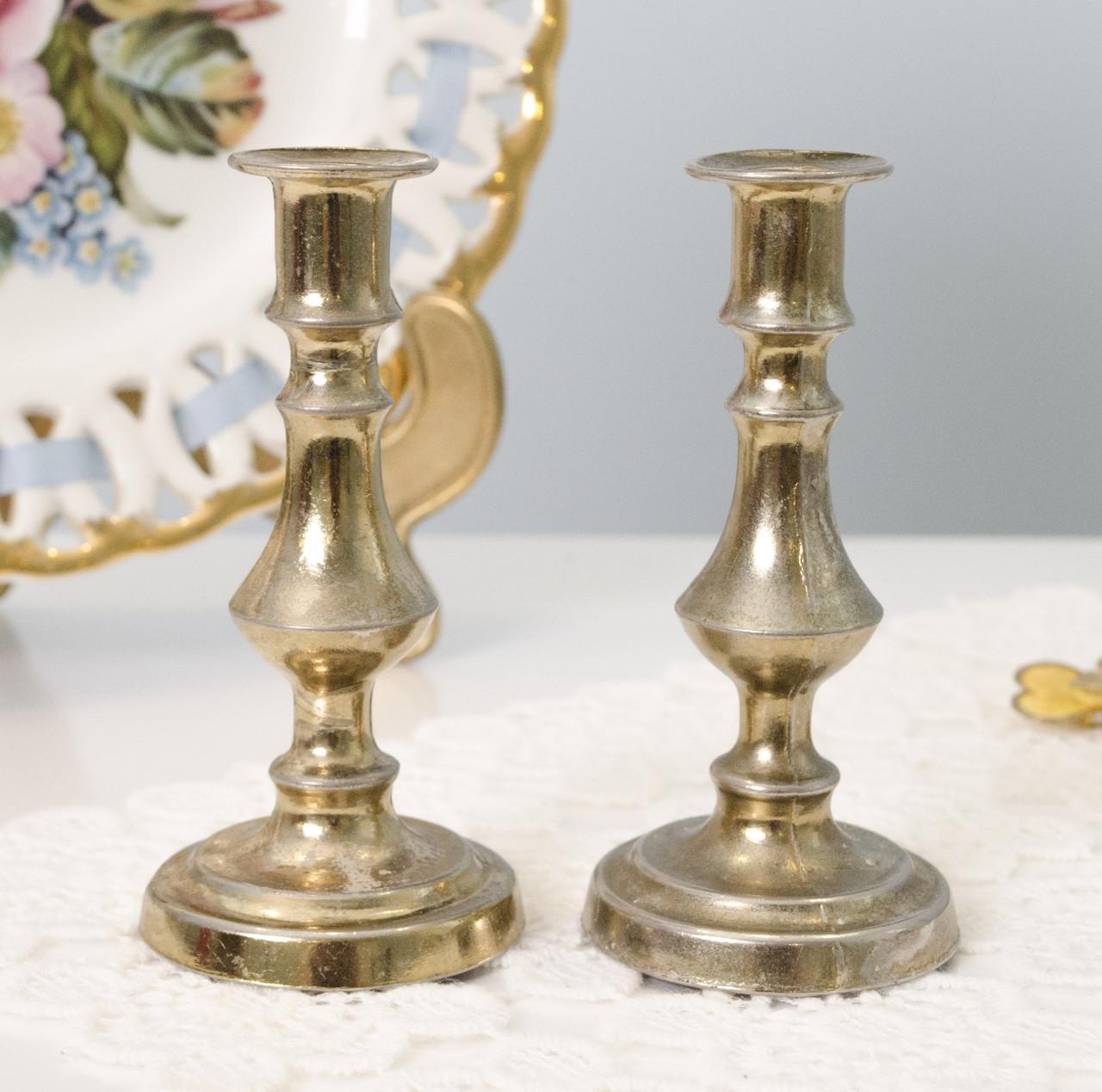 Два миниатюрных подсвечника, бронзированный металл, Англия
