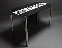 Стол стеклянный Цветы рая черно-белый 900