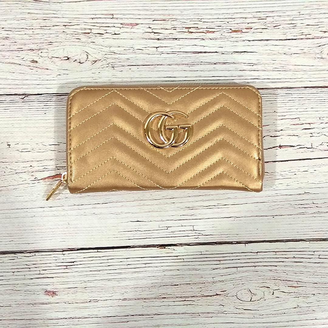 Стильный женский кошелек клатч в стиле Gucci гучи золото кожа PU
