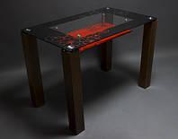 Стол стеклянный Маки с полкой 1100