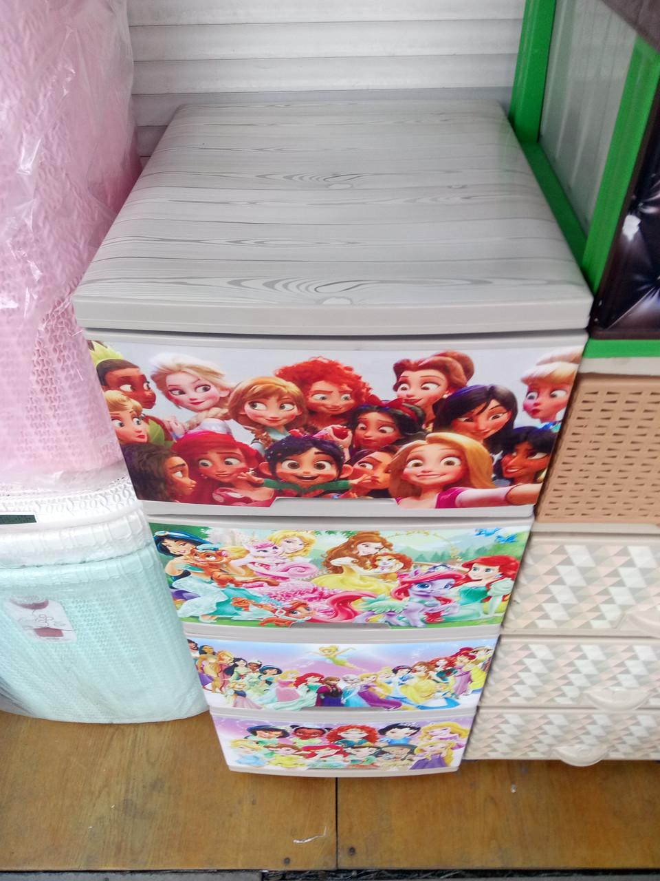 """Комод на 4 ящика с декором """"принцессы диснея 3 """"  Алеана"""