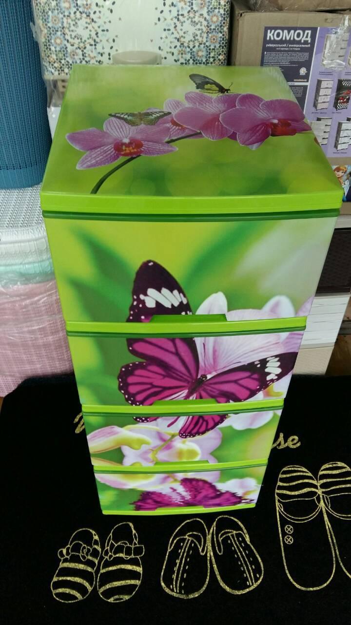 """Комод на 4 ящика с декором """"бабочка и Орхидея """"  Алеана"""