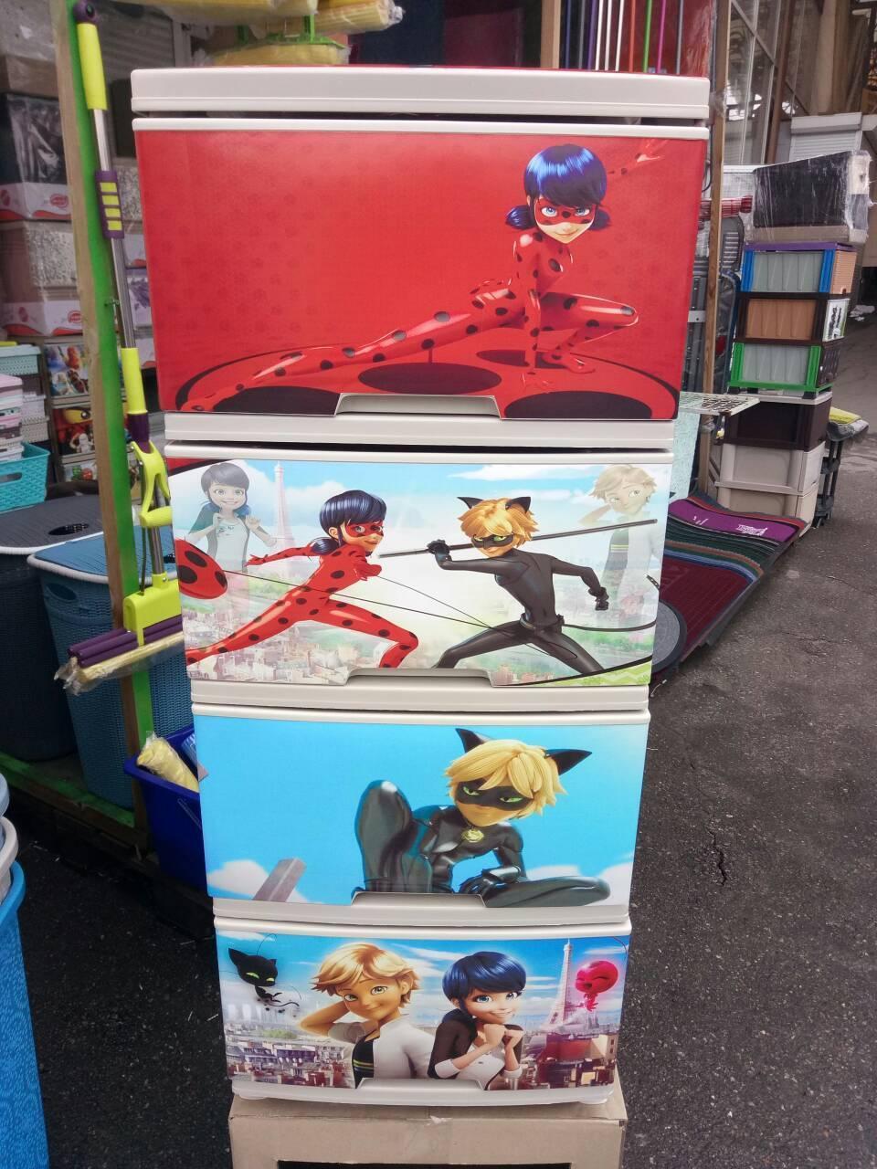 Комод на 4 ящика с декором Леди Баг с рисунком на крышке Алеана