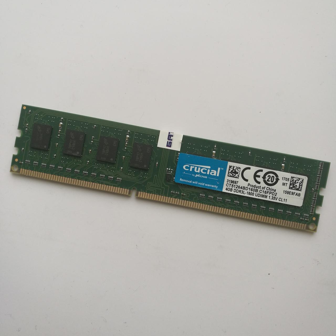 Оперативная память Crucial DDR3L 4Gb 1600MHz PC3L-12800 2R8 CL11 (CT51264BD160B.C16FPD2) Б/У