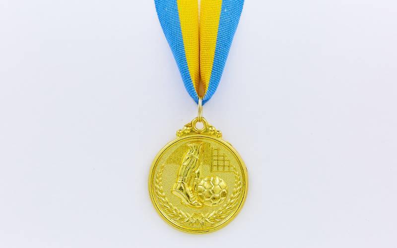 Медаль спорт d-5см C-7025-1 золото Футбол (металл, 25g)