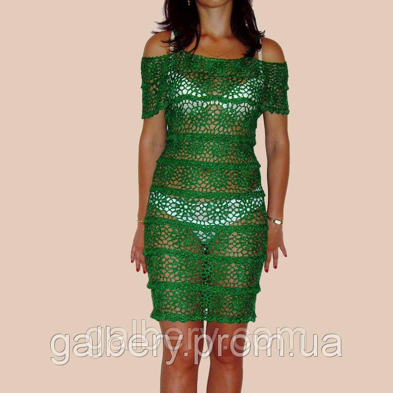 3d6d13b4e53 Изумрудное вязаное крючком летнее кружевное платье с ажурными принтами