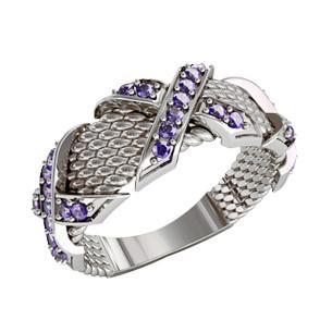 Кольцо  женское серебряное Сирень
