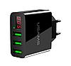USAMS зарядний пристрій на 3 USB зі світлодіодним дисплеєм Black