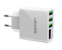 USAMS зарядное устройство на 3 USB со светодиодным дисплеем White