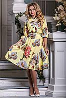 Эффектное цветочное женское платье (44-50) ,доставка по Украине, фото 1