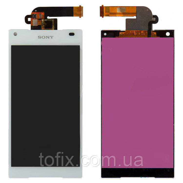 Дисплейный модуль (экран и сенсор) для Sony Xperia Z5 Compact E5803, E5823, белый, оригинал