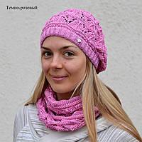 Ёжик, ажурная шапка-берет. от 6 лет. р. 53-58. т.розовый, черный