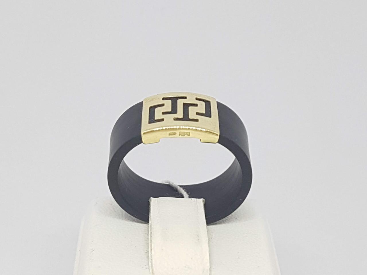 Кольцо из каучука с золотой вставкой. Артикул 900626В 18