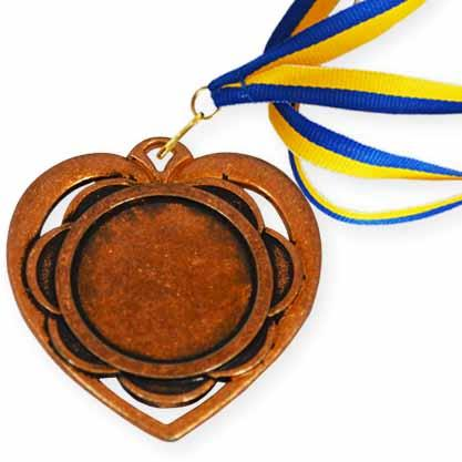 """Медаль (заготовка) спорт Д-87 Ø45мм """"Сердце"""" бронза"""