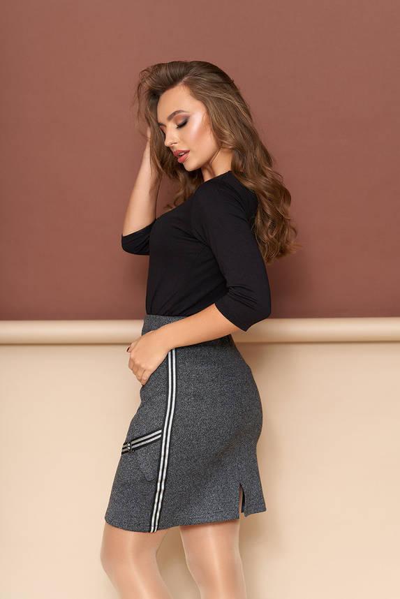 Теплая юбка облегающая на молнии с карманами, фото 2