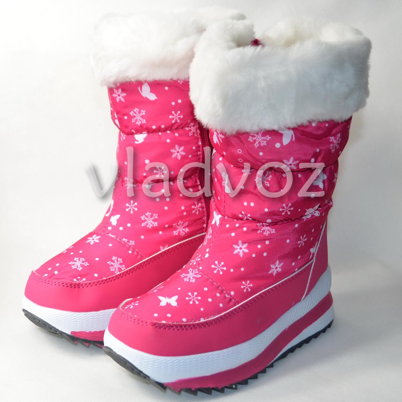 ad0b93ab3 Детские зимние дутики на зиму для девочки сапоги снежинки малиновые 33р.