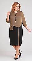 Платье Асолия-2398 белорусский трикотаж, коричневый+чёрный, 52