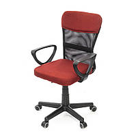 Кресло офисное на колесиках Тезия PL PR красного цвета из ткани