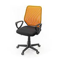 Кресло офисное на колесиках Тета PL PR оранжевого цвета из ткани