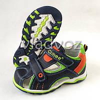Детские босоножки сандалии для мальчика тёмно синие оранж кожа Clibee 30р.