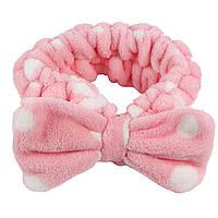 Плюшевая повязка на голову с розовым бантом, фото 1
