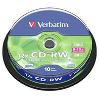 Диск (c10) CD-RW Verbatim /700MB/80min/12x/10pcs Cake box 10шт (43480)
