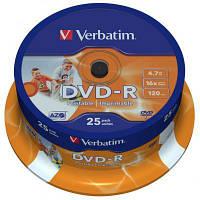 Диск (c25) DVD-R Verbatim /4.7GB/16x/25pcs CakeBox 25шт Printable (43538)