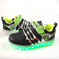 Детские светящиеся кроссовки с led подсветкой USB черные 35р.