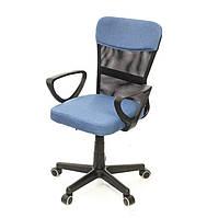 Кресло офисное на колесиках Тезия PL PR синего цвета из ткани