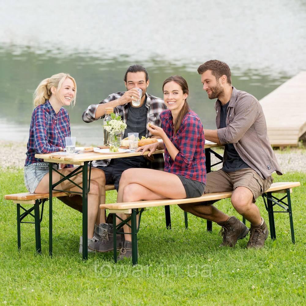 Садовая мебель стол +2 лавки 177 см раскладные Германия