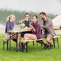 Садовая мебель стол +2 лавки 177 см раскладные Германия, фото 1