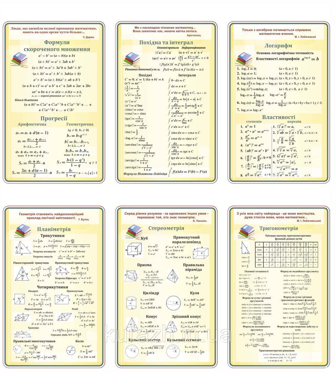 Набір стендів для кабінету математики