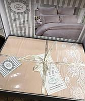 Комплект постельного белья евро сатин с кружевом   Bella Villa