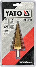 Конусное ступенчатое сверло 6-38мм YATO YT-44740, фото 2