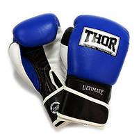 Перчатки для бокса кожаные THOR ULTIMATE(Leather)B/B/W