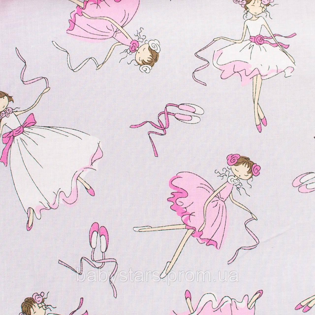 """Простынь в детскую кроватку на резинке, хлопок, 120 х 60 см """"Балерины"""""""