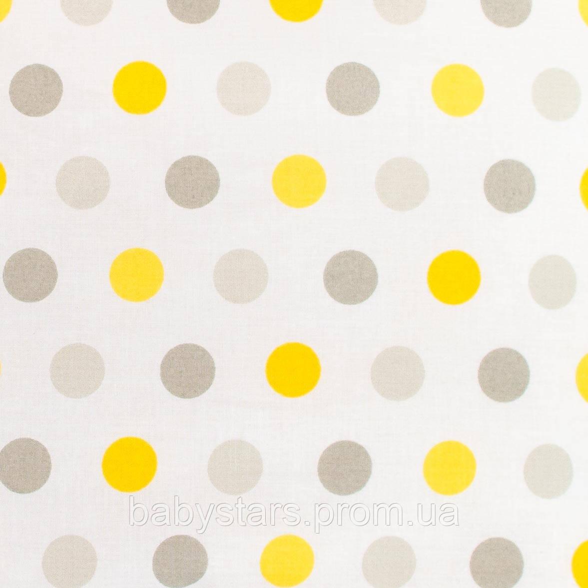 """Простынь на резинке в детскую кроватку, хлопок, 120 х 60 см, """"Горох серый и желтый"""""""