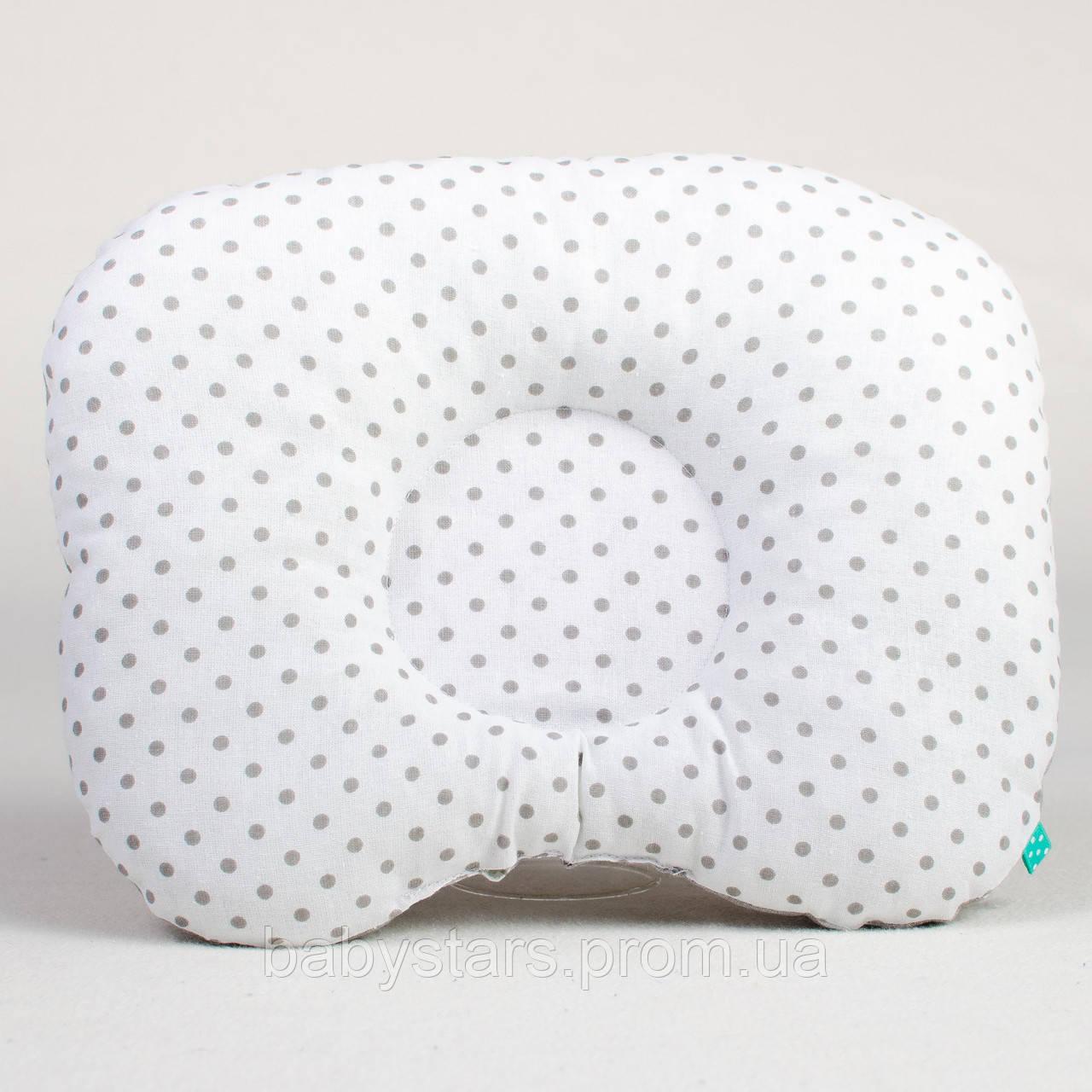 """Детская подушка для новорожденных 22х26 см, """"Серый горошек на белом"""""""
