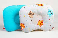 """Подушка для новорожденного в кроватку 22х26 см, """"Забавные совушки и бирюза"""", фото 1"""