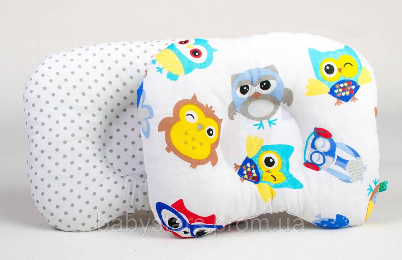 """Ортопедическая подушка для новорожденных для голов 22х26 см, """"Совы в наушниках и серый горошек"""""""